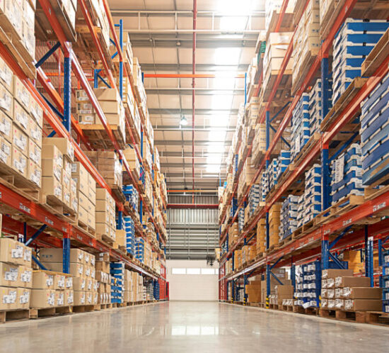 Photo of rows of shelves in a warehouse - M&N Insurance